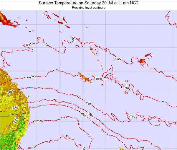 New Caledonia Surface Temperature on Thursday 24 Apr at 5pm NCT