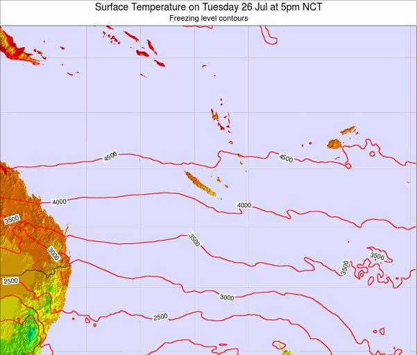New Caledonia Surface Temperature on Monday 03 Nov at 11pm NCT