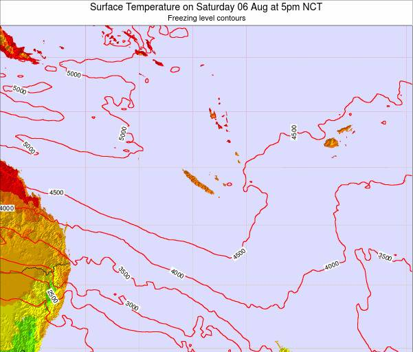 New Caledonia Surface Temperature on Friday 22 Aug at 11pm NCT
