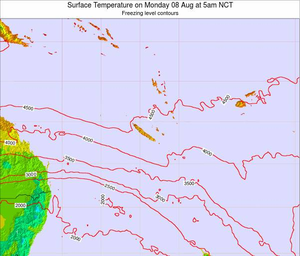 New Caledonia Surface Temperature on Tuesday 21 May at 5am NCT