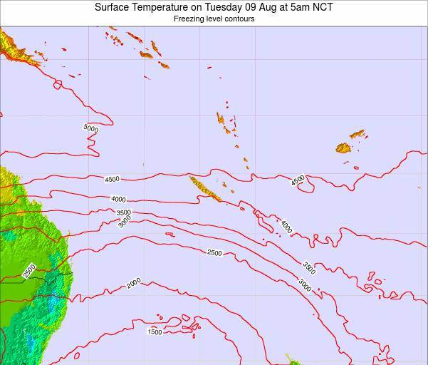 New Caledonia Surface Temperature on Tuesday 28 May at 11pm NCT