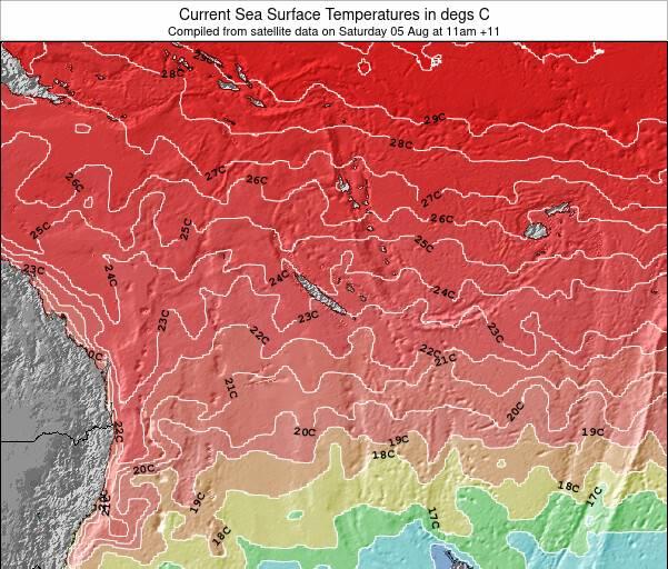 Nuova Caledonia Temperature della superficie del mare Mappa