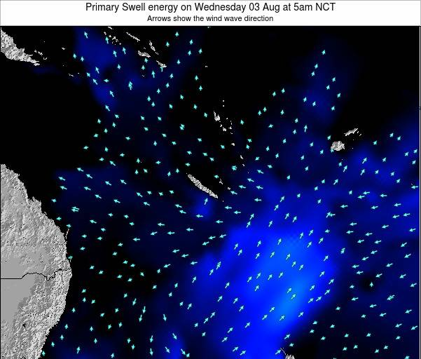 Vanuatu Primary Swell energy on Monday 03 Aug at 5am NCT