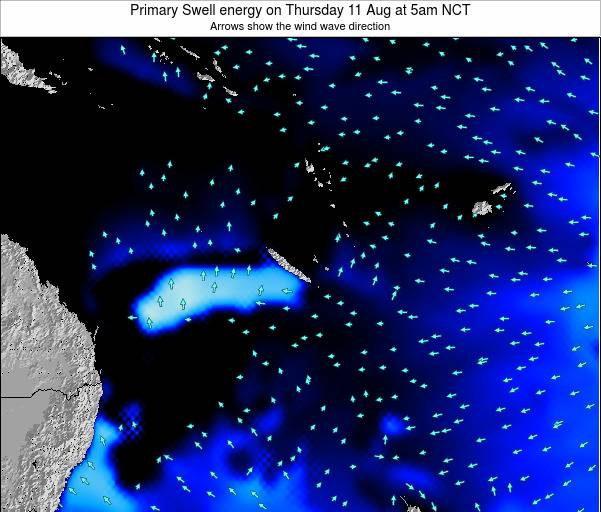 Vanuatu Primary Swell energy on Thursday 07 Aug at 5pm NCT