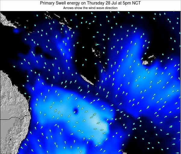 Vanuatu Primary Swell energy on Saturday 25 May at 11pm NCT