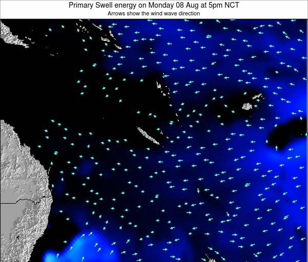 Vanuatu Primary Swell energy on Monday 04 Aug at 11am NCT