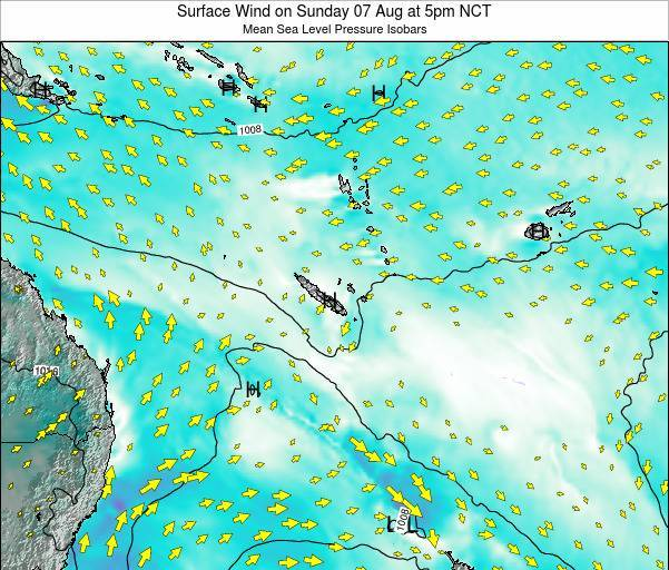Vanuatu Surface Wind on Monday 20 May at 5pm NCT map