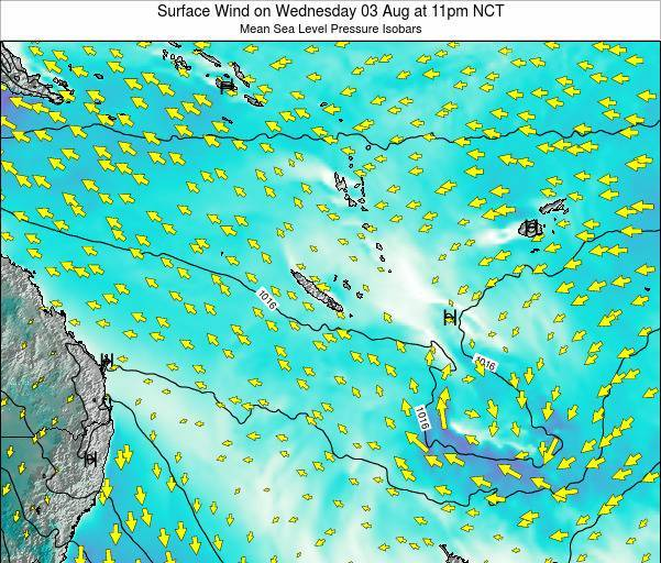 Vanuatu Surface Wind on Saturday 19 Jan at 11pm NCT map