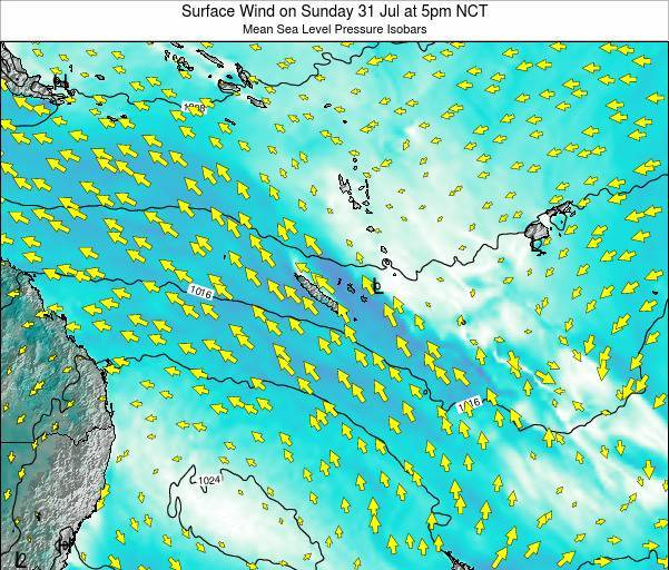 New Caledonia Surface Wind on Sunday 23 Jun at 11am NCT