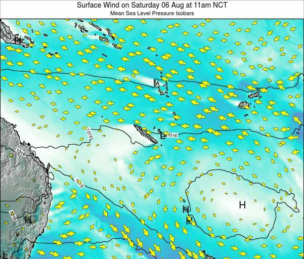 Vanuatu Surface Wind on Sunday 26 May at 11pm NCT map