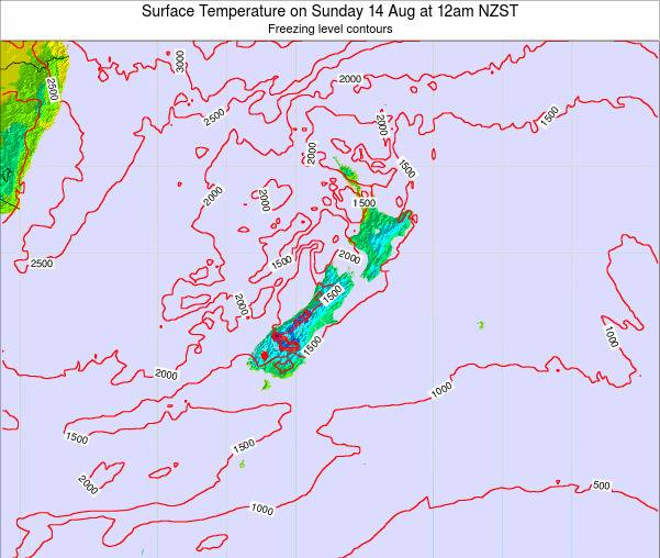 New Zealand Surface Temperature on Thursday 27 Jun at 6am NZST