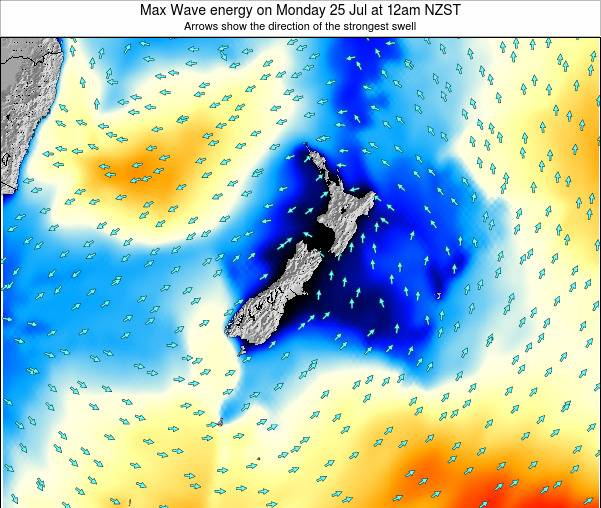 New Zealand Max Wave energy on Friday 25 Apr at 12pm NZST