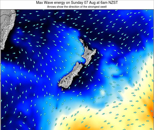 New Zealand Max Wave energy on Saturday 15 Mar at 1am NZDT