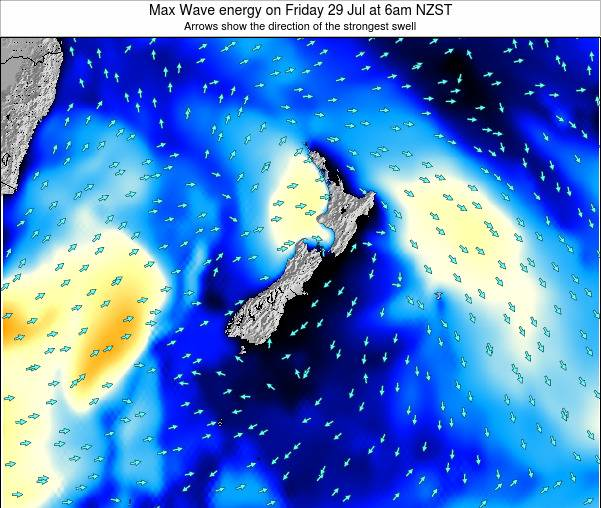 New Zealand Max Wave energy on Saturday 25 May at 6am NZST
