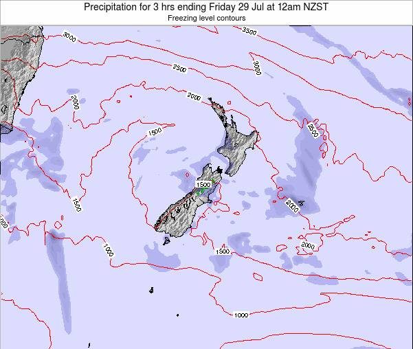 New Zealand Precipitation for 3 hrs ending Monday 27 May at 12pm NZST