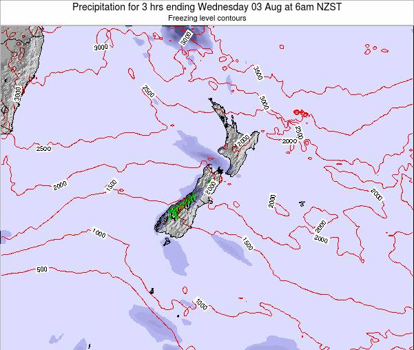New Zealand Precipitation for 3 hrs ending Sunday 19 May at 12pm NZST