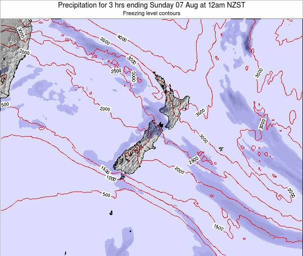 New Zealand Precipitation for 3 hrs ending Saturday 25 May at 6pm NZST