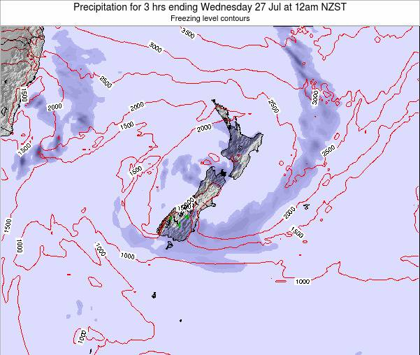 New Zealand Precipitation for 3 hrs ending Monday 27 May at 6am NZST