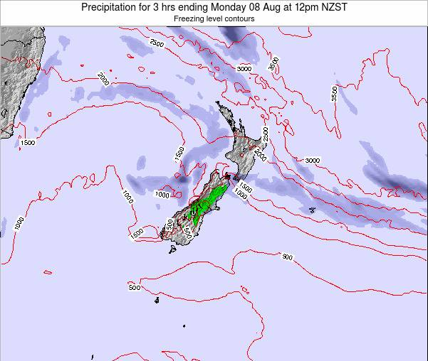 New Zealand Precipitation for 3 hrs ending Thursday 20 Jun at 12pm NZST