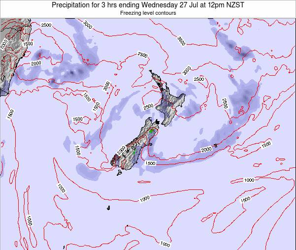 New Zealand Precipitation for 3 hrs ending Wednesday 29 May at 12pm NZST