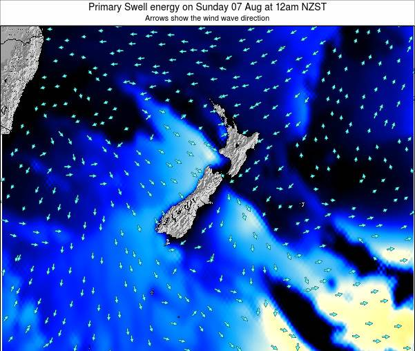 New Zealand Primary Swell energy on Sunday 15 Dec at 7am NZDT