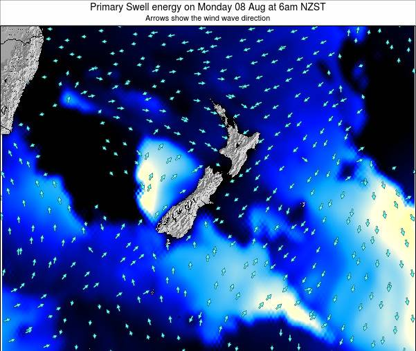 New Zealand Primary Swell energy on Thursday 13 Mar at 1pm NZDT
