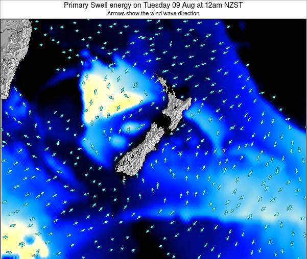 New Zealand Primary Swell energy on Tuesday 21 May at 6pm NZST