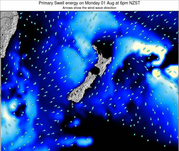 New Zealand Primary Swell energy on Sunday 19 May at 12pm NZST