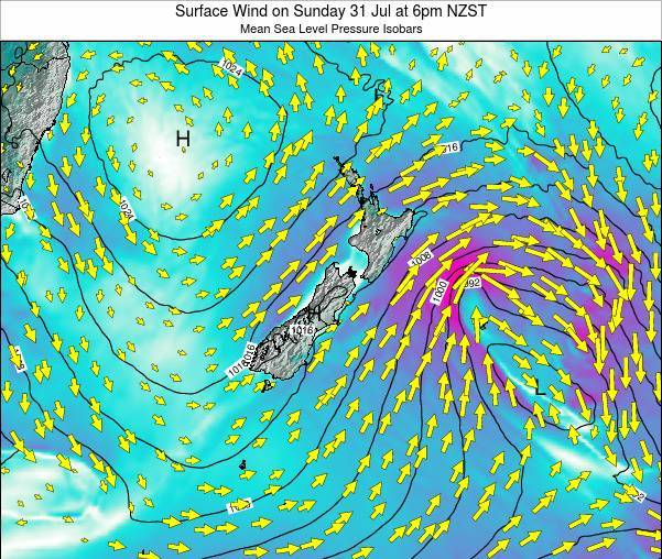 New Zealand Surface Wind on Sunday 19 May at 12am NZST