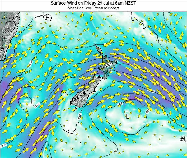 New Zealand Weather Map.New Zealand Surface Wind On Monday 11 Mar At 7pm Nzdt