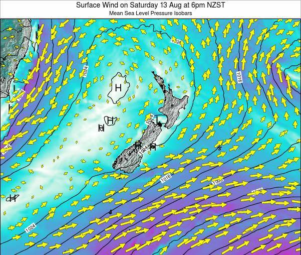 New Zealand Surface Wind on Saturday 01 Jun at 12am NZST map