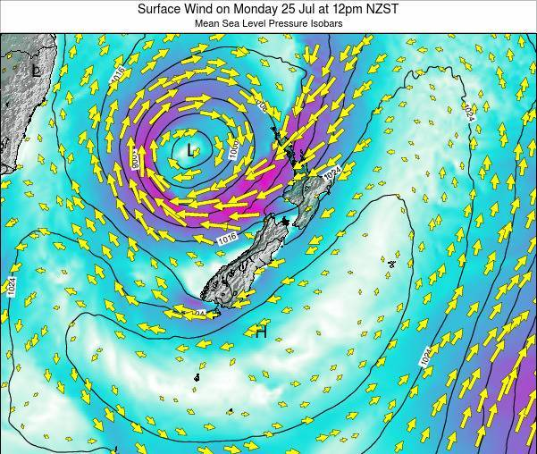 New Zealand Surface Wind on Friday 24 May at 6am NZST