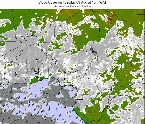 Chad Cloud Cover on Saturday 20 Oct at 1pm WAT map