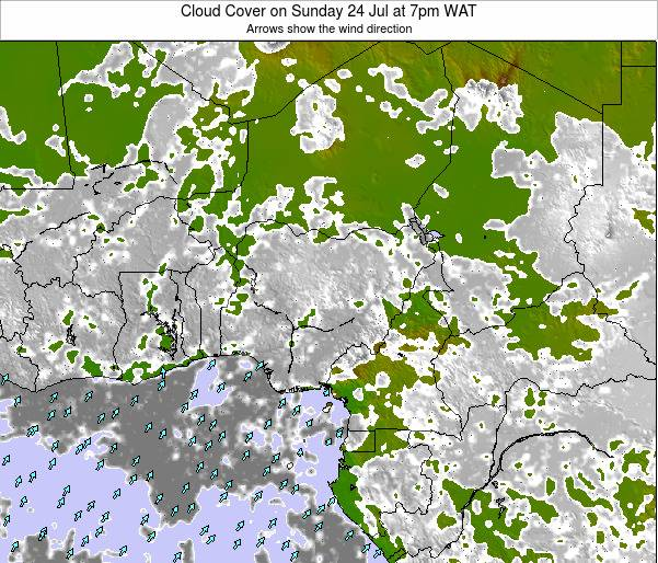 Chad Cloud Cover on Friday 27 Jul at 1pm WAT map