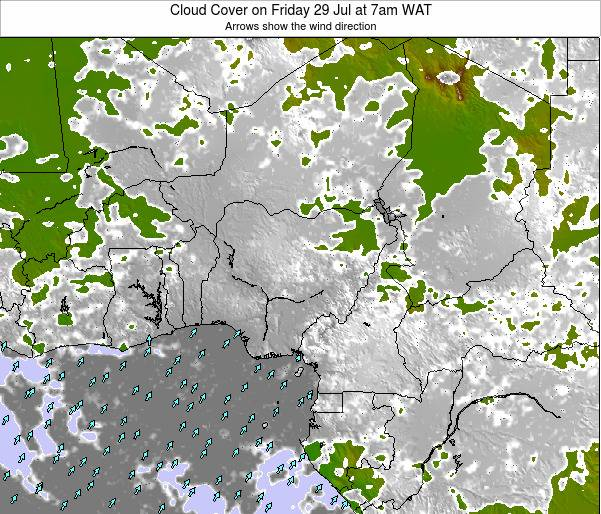 Chad Cloud Cover on Thursday 21 Feb at 1am WAT map