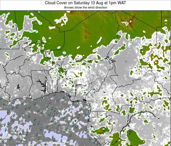Chad Cloud Cover on Monday 17 Dec at 7pm WAT map