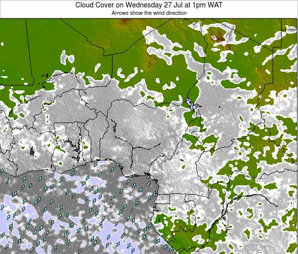 Chad Cloud Cover on Wednesday 02 May at 1am WAT map
