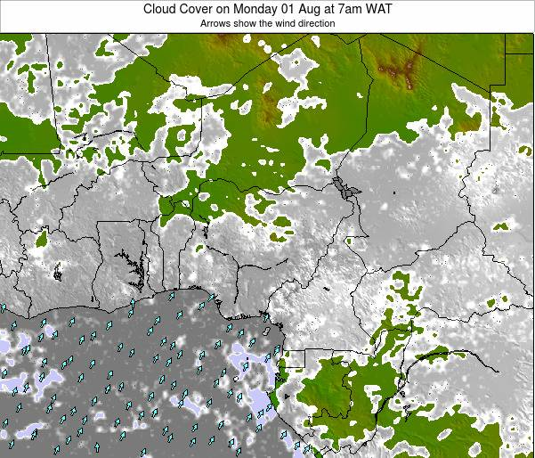 Chad Cloud Cover on Friday 19 Oct at 1am WAT map