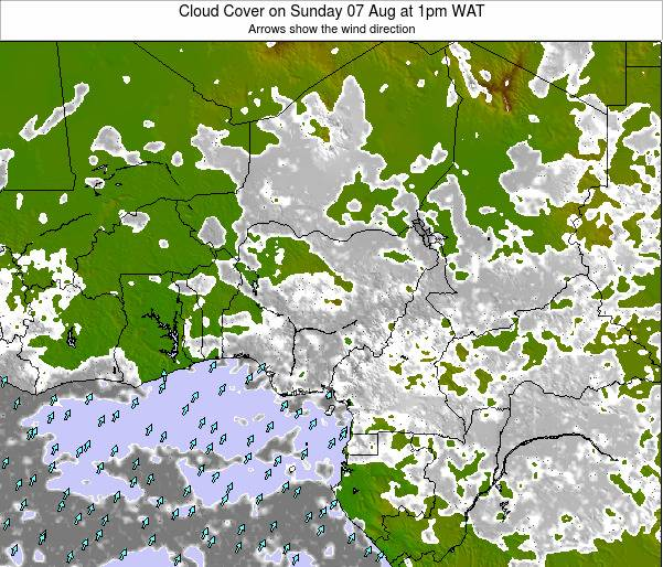Chad Cloud Cover on Thursday 20 Sep at 7am WAT map