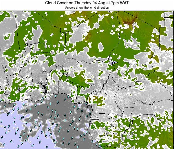 Chad Cloud Cover on Thursday 25 Jan at 1am WAT map