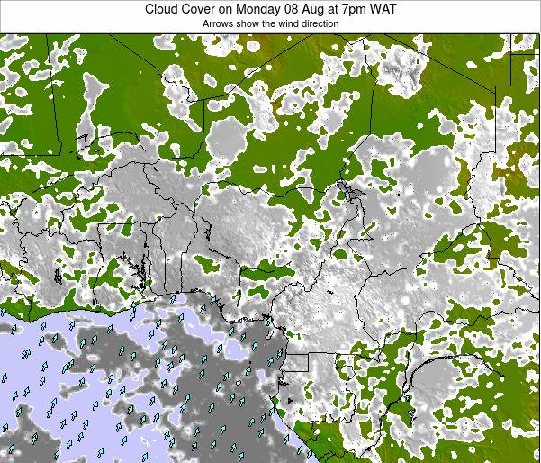 Chad Cloud Cover on Monday 22 Oct at 1pm WAT map