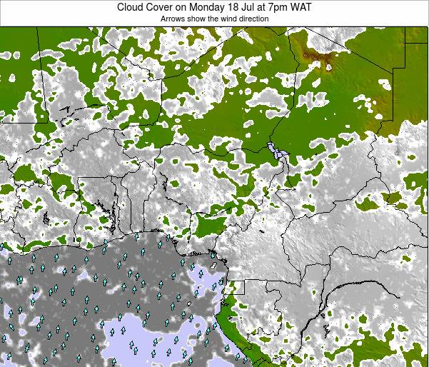 Chad Cloud Cover on Saturday 19 Jan at 1pm WAT map