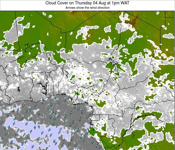 Chad Cloud Cover on Wednesday 17 Oct at 7am WAT map