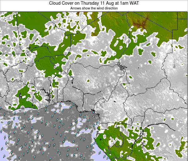 Chad Cloud Cover on Tuesday 19 Feb at 7pm WAT map