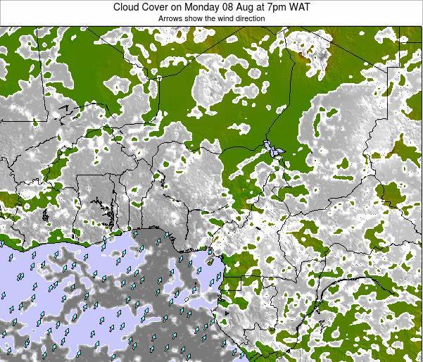 Chad Cloud Cover on Thursday 19 Jul at 7am WAT map
