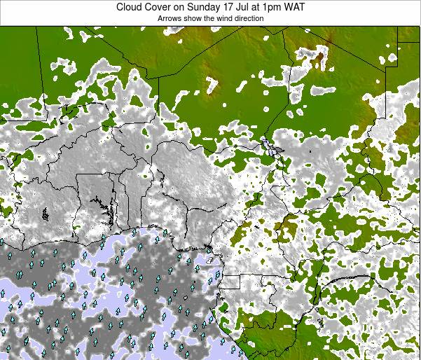 Chad Cloud Cover on Wednesday 22 Aug at 1am WAT map