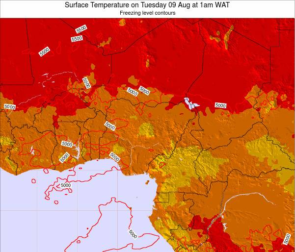 Nigeria Surface Temperature on Wednesday 29 May at 1pm WAT