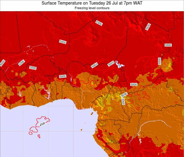 Chad Surface Temperature on Tuesday 21 May at 1pm WAT map