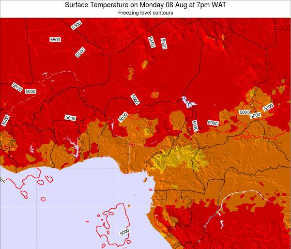 Chad Surface Temperature on Saturday 25 May at 1pm WAT map