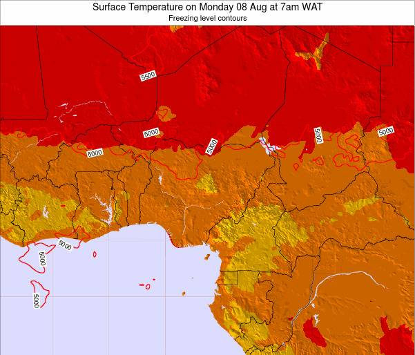 Nigeria Surface Temperature on Wednesday 22 May at 7am WAT